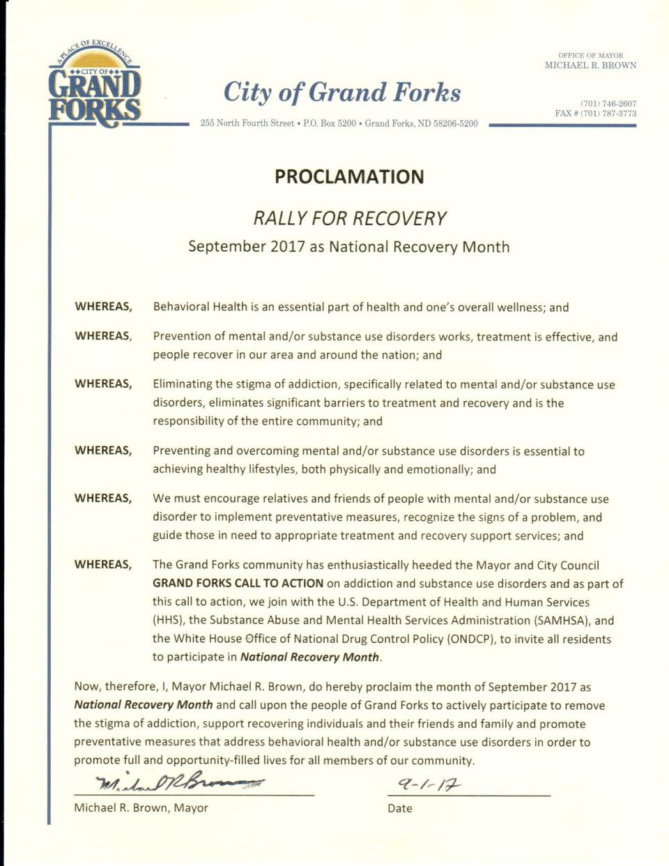 Proclamation National Recovery Month Sep 2017